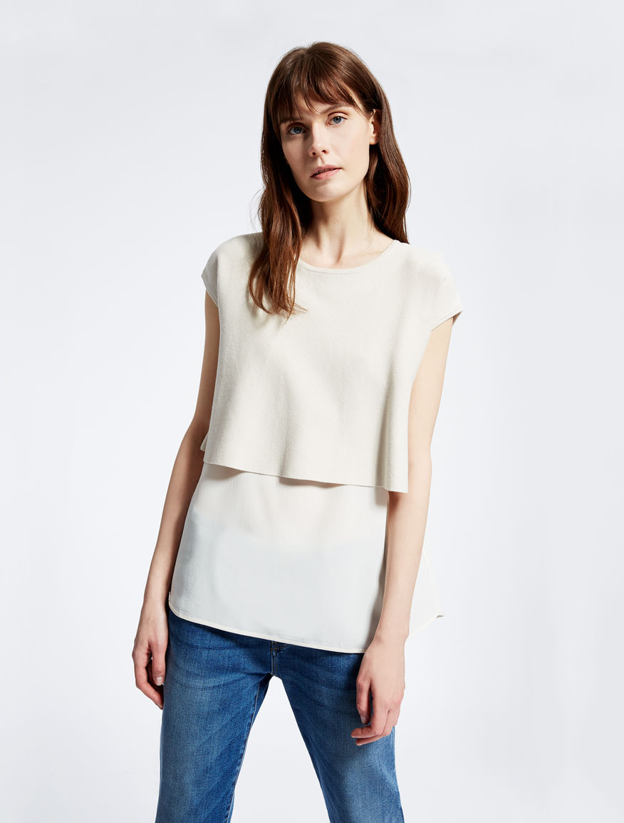 Knit and crêpe de chine T-shirt Weekend Maxmara