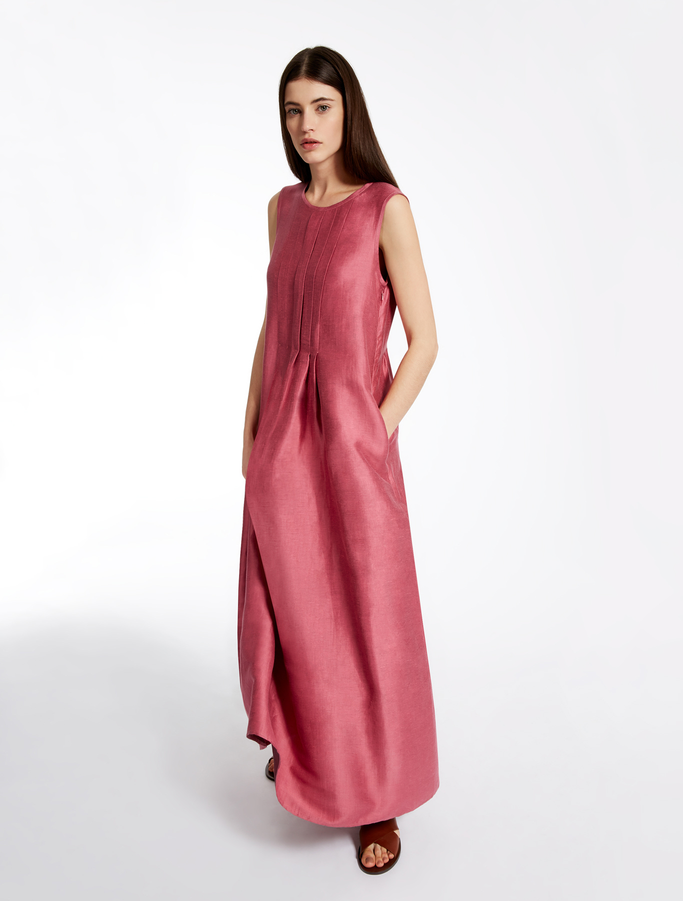linen and silk dress pink weekend max mara. Black Bedroom Furniture Sets. Home Design Ideas