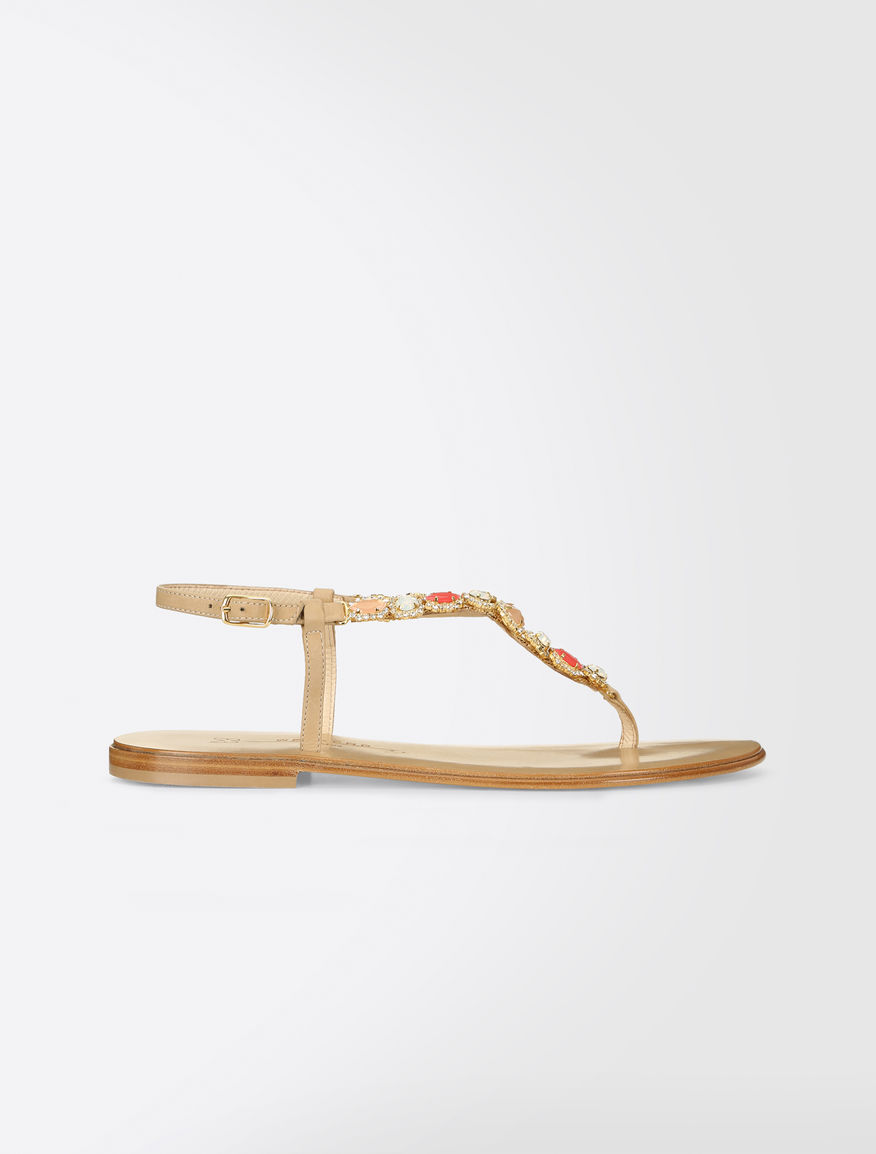 Thong sandals with rhinestones Weekend Maxmara