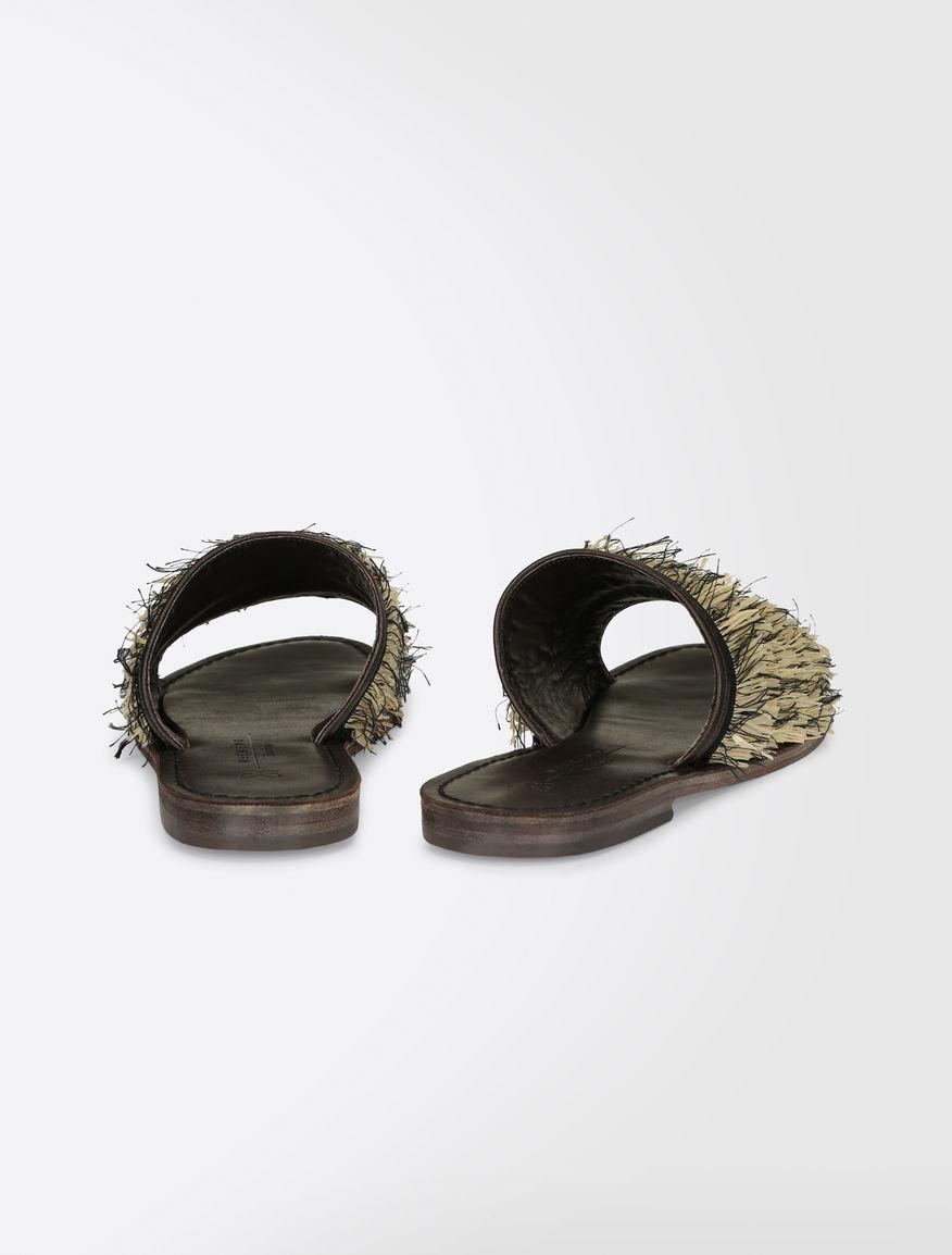 Raffia and cotton slipper sandals Weekend Maxmara