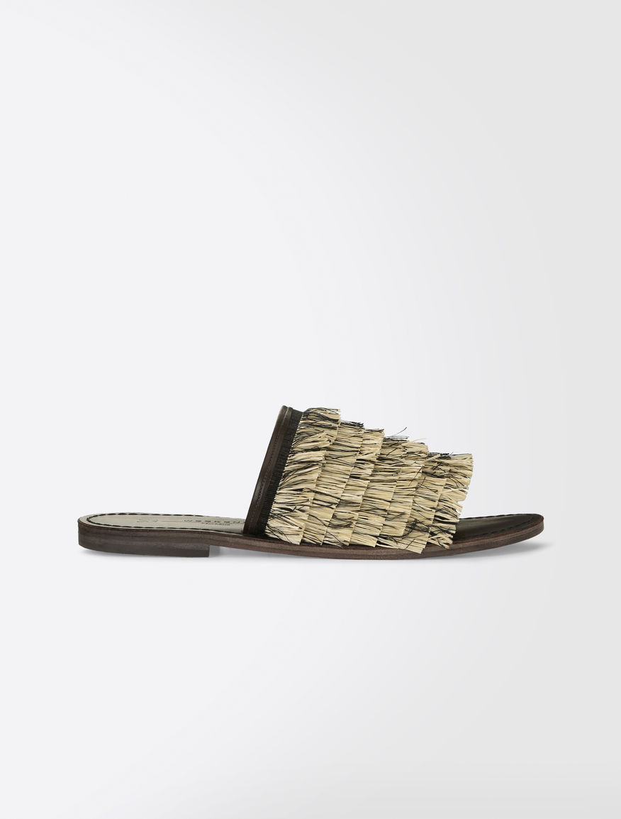 Raffia and cotton slipper sandals Weekend Maxmara