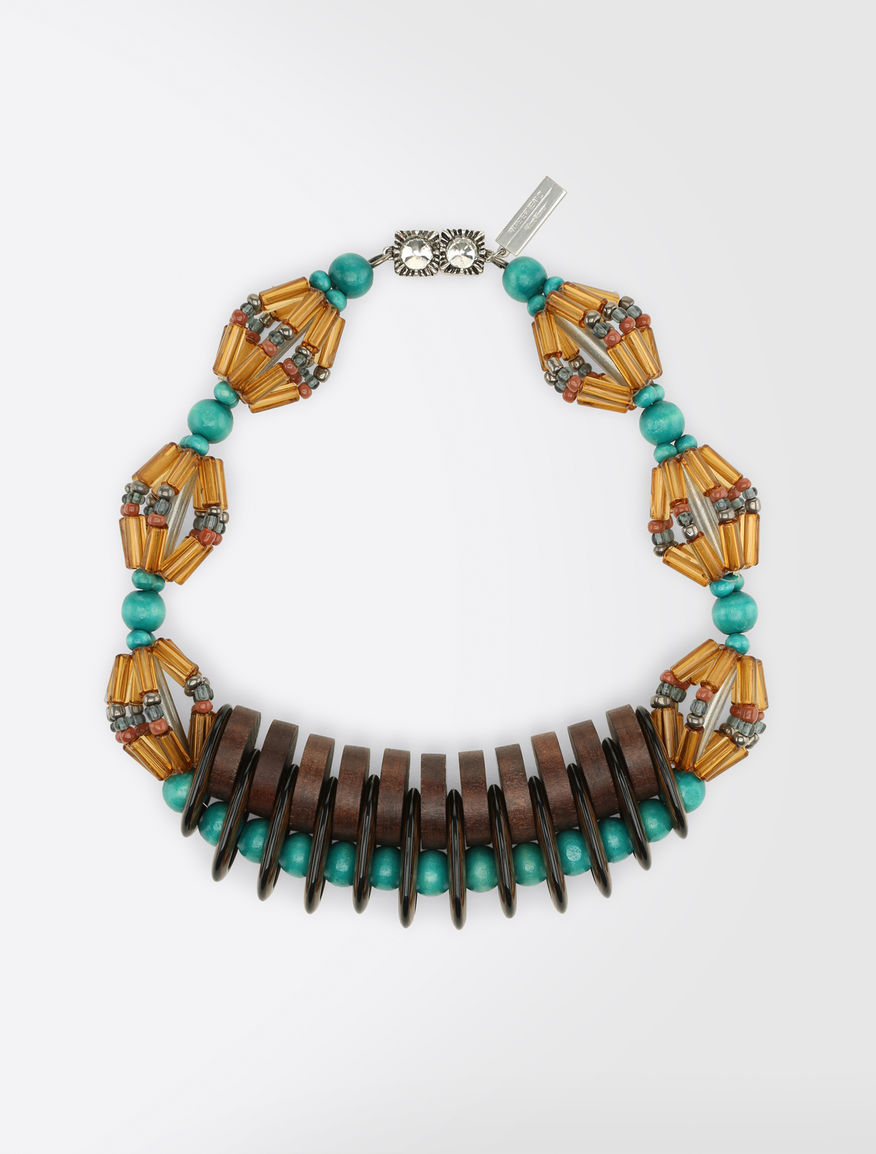 Multicolour resin and wood necklace Weekend Maxmara
