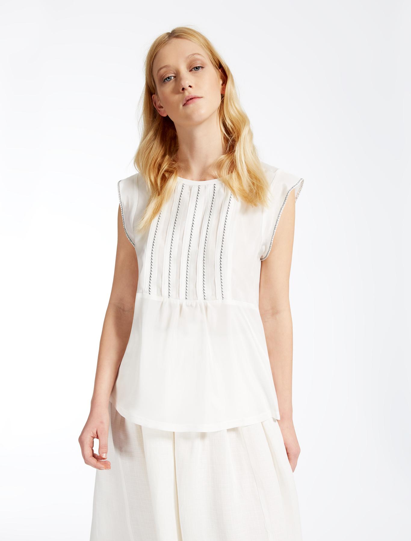 Jersey and silk t shirt optical white weekend max mara for Silk white t shirt