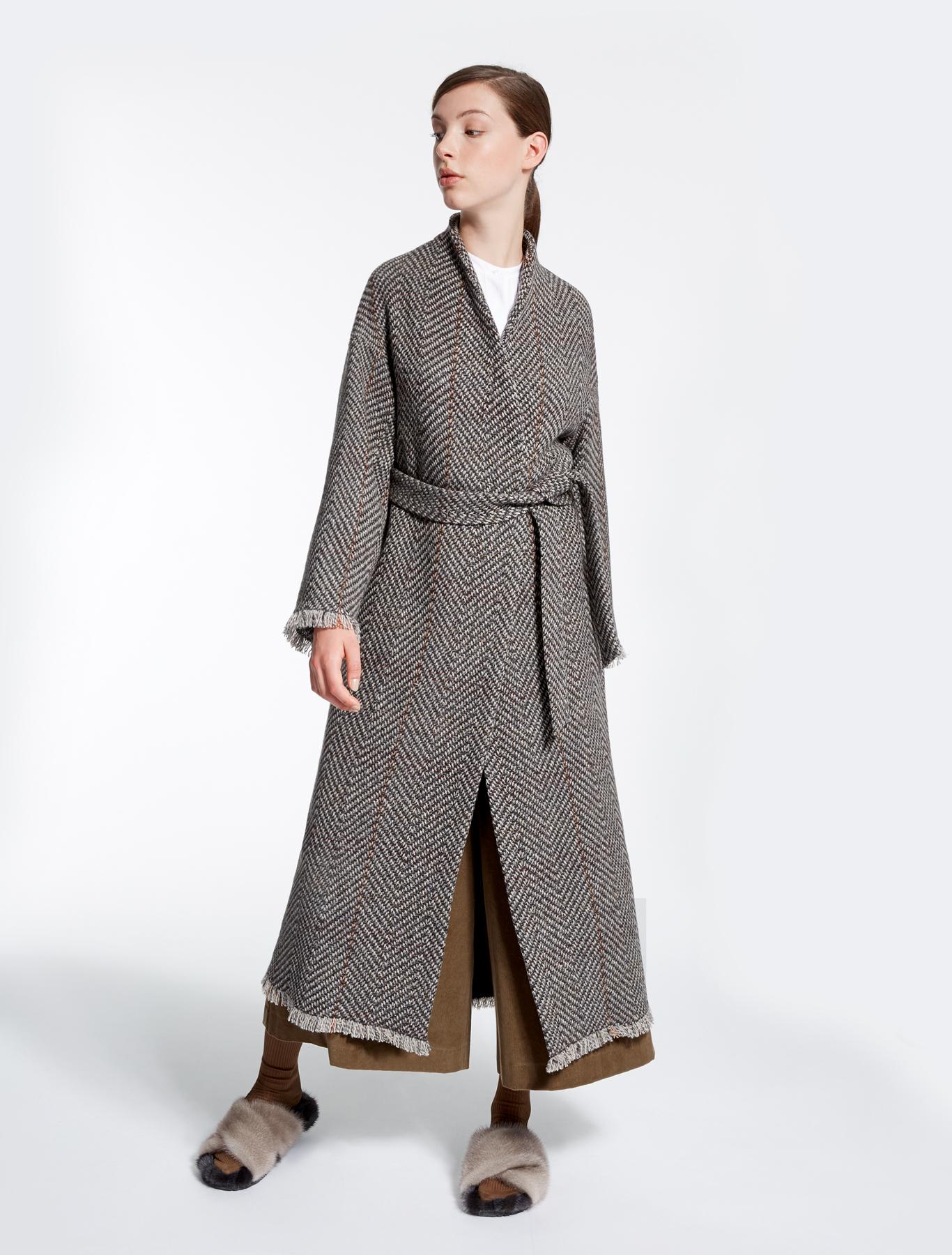 wool tweed coat dark brown weekend max mara. Black Bedroom Furniture Sets. Home Design Ideas