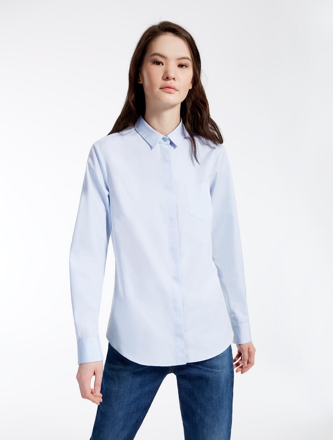 Cotton poplin shirt light blue weekend max mara for What is a poplin shirt