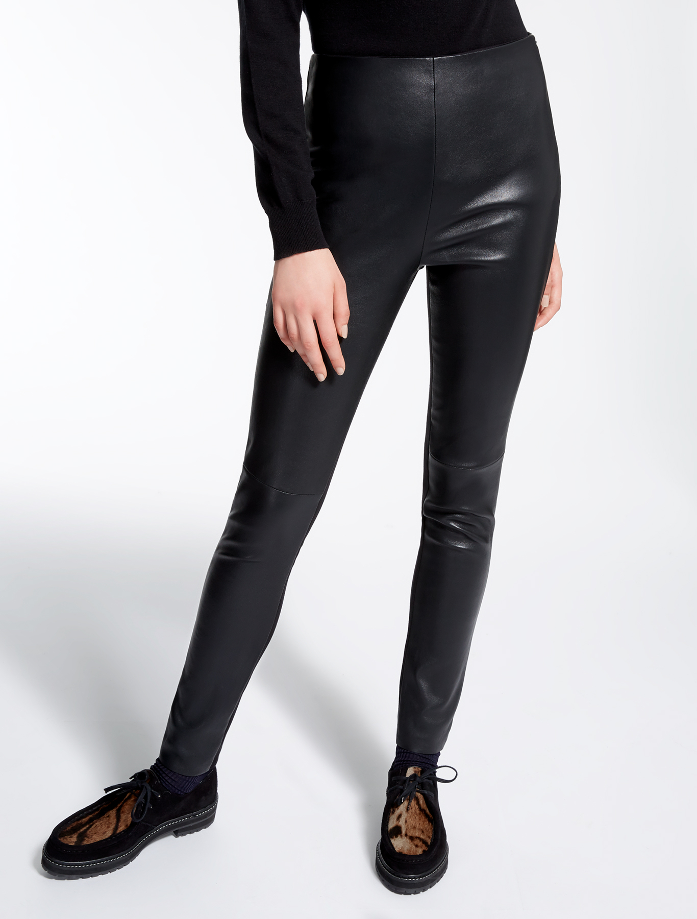 leather and jersey leggings black weekend max mara. Black Bedroom Furniture Sets. Home Design Ideas