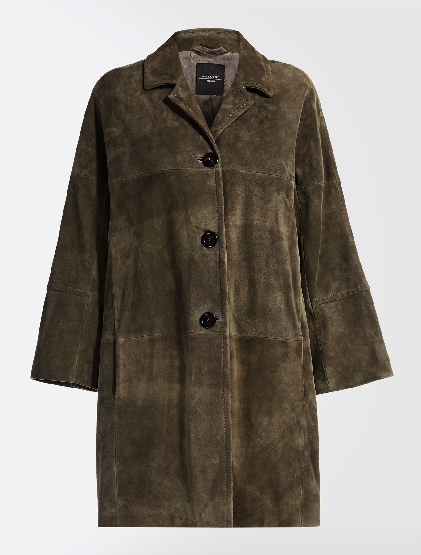 Suede leather duster coat, kaki