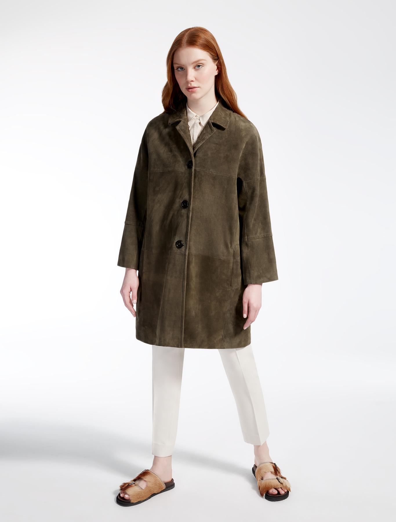 suede leather duster coat kaki weekend max mara. Black Bedroom Furniture Sets. Home Design Ideas