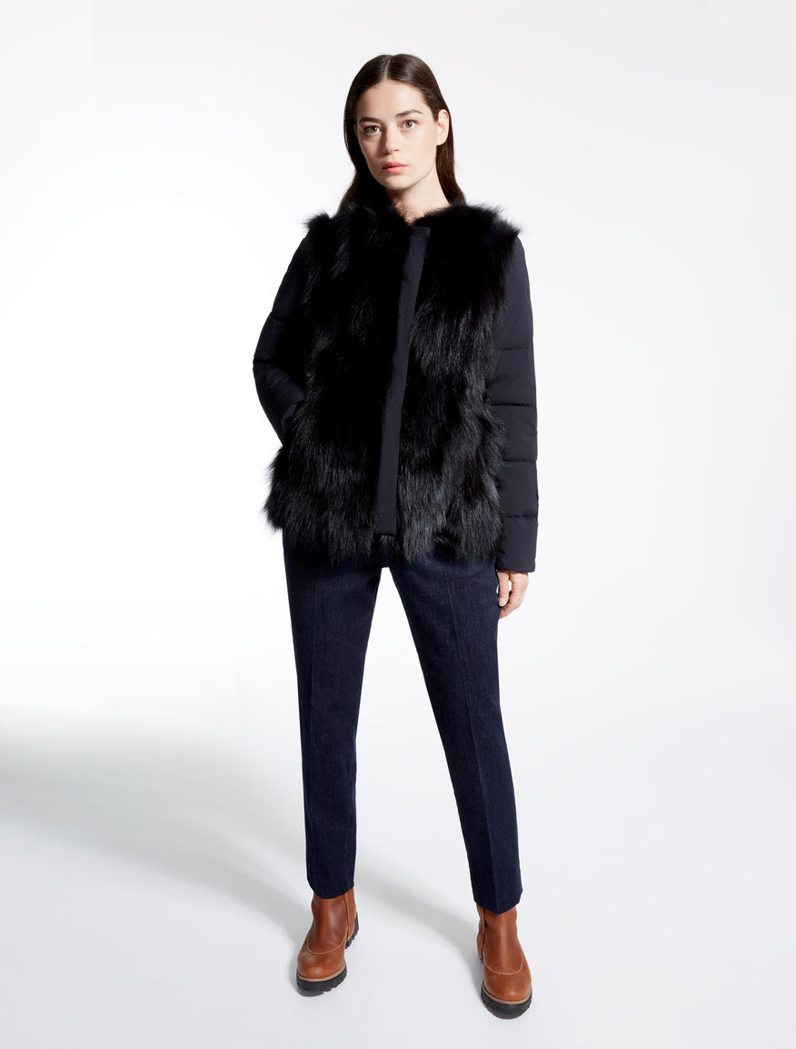 Canvas down jacket with fox-fur detail Weekend Maxmara