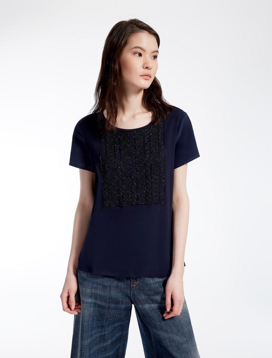 Crêpe de chine and jersey T-shirt Weekend Maxmara