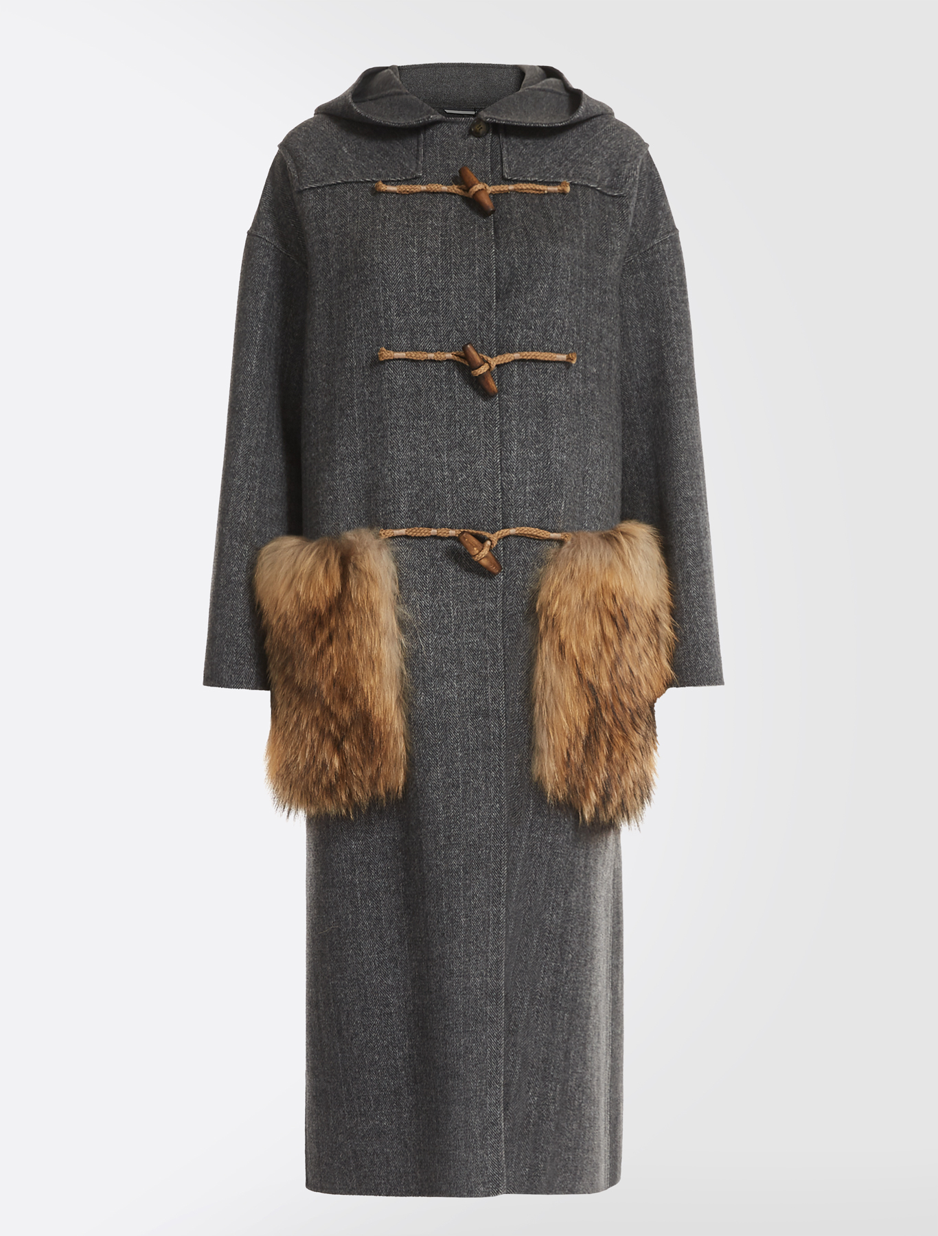 1ec6918717407 Wool and fur duffel coat