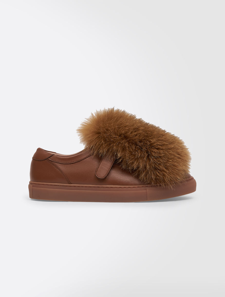 Trainers in leather and fox fur Weekend Maxmara