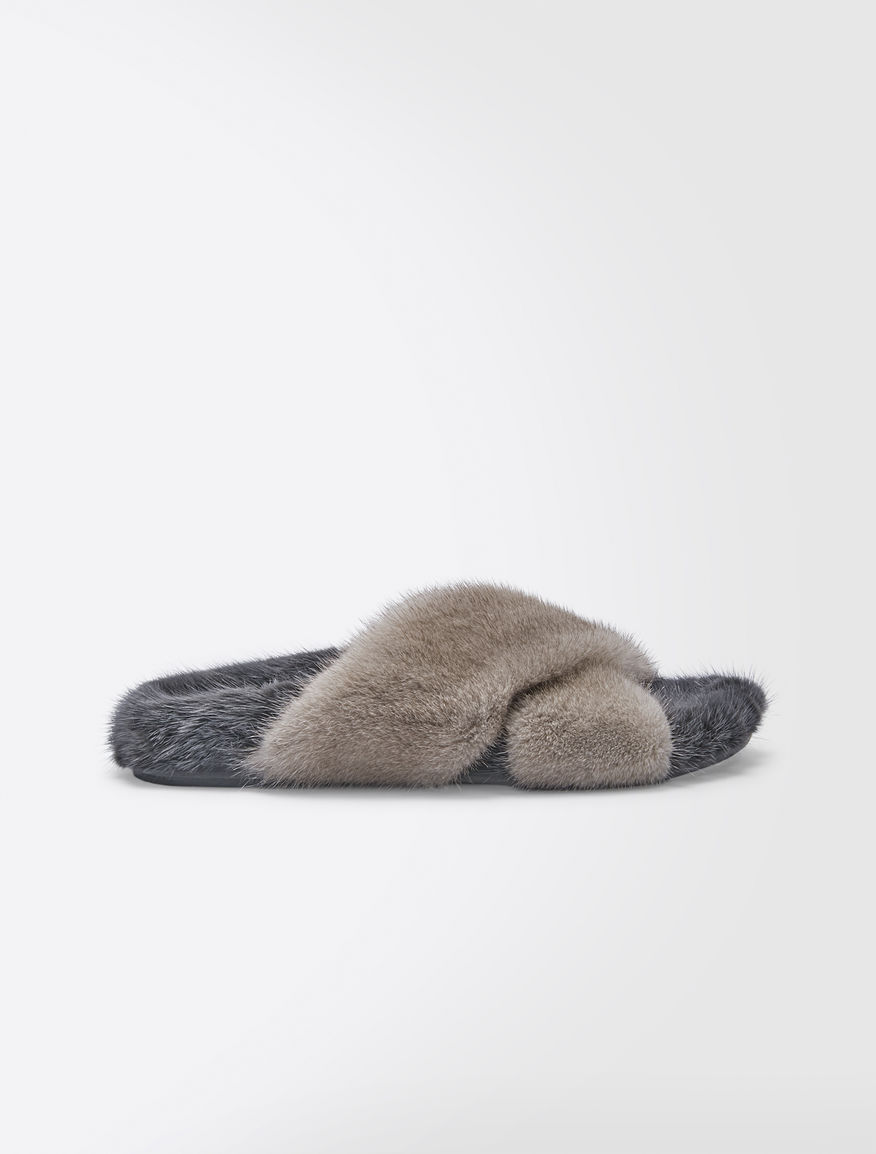 Slipper in visone Weekend Maxmara