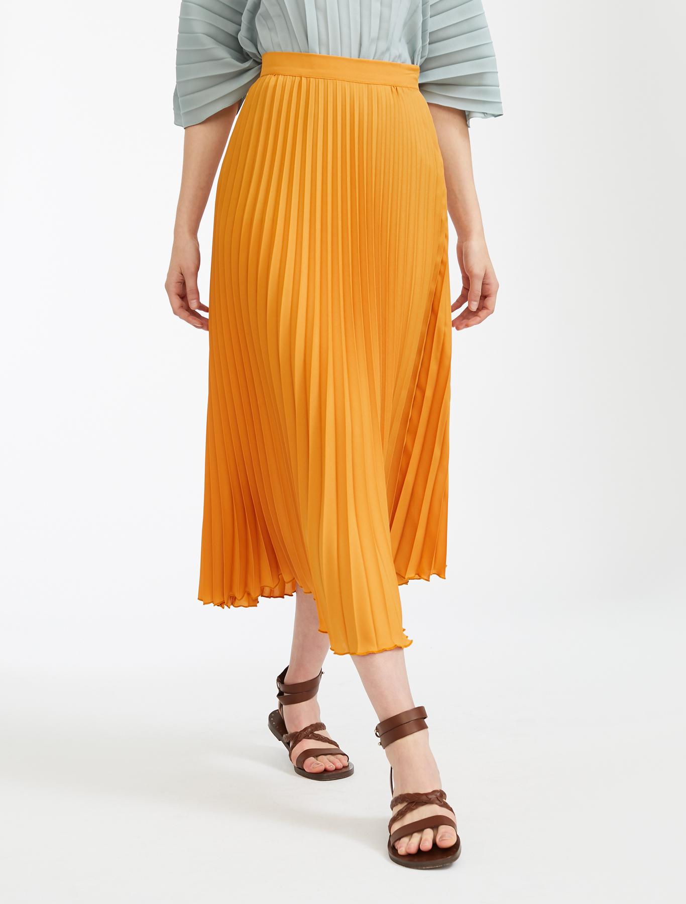 015abc17fe Crepe de chine skirt, orange - Weekend Max Mara