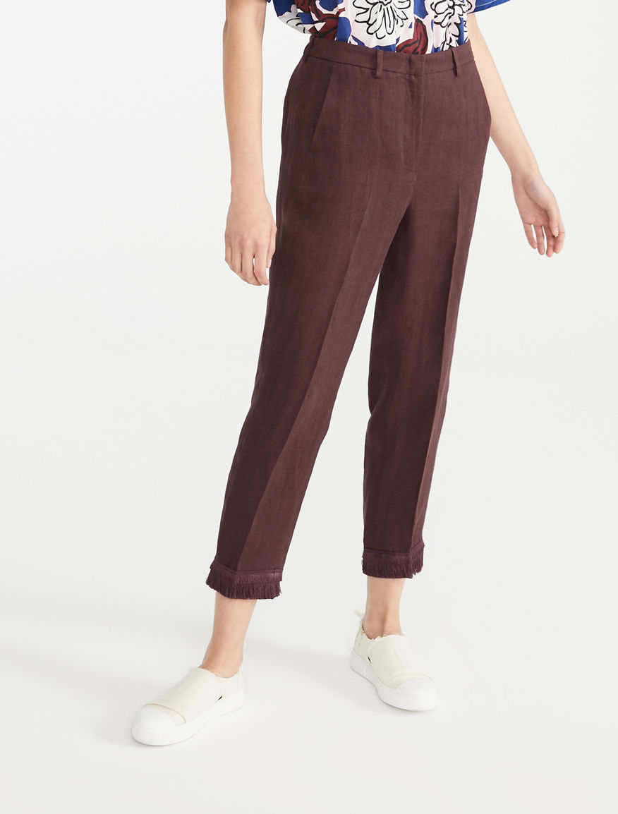 e843f4ce4d4 Linen canvas trousers, brown - Weekend Max Mara