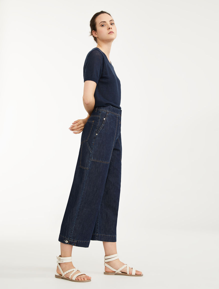 Linen and cotton denim trousers Weekend Maxmara