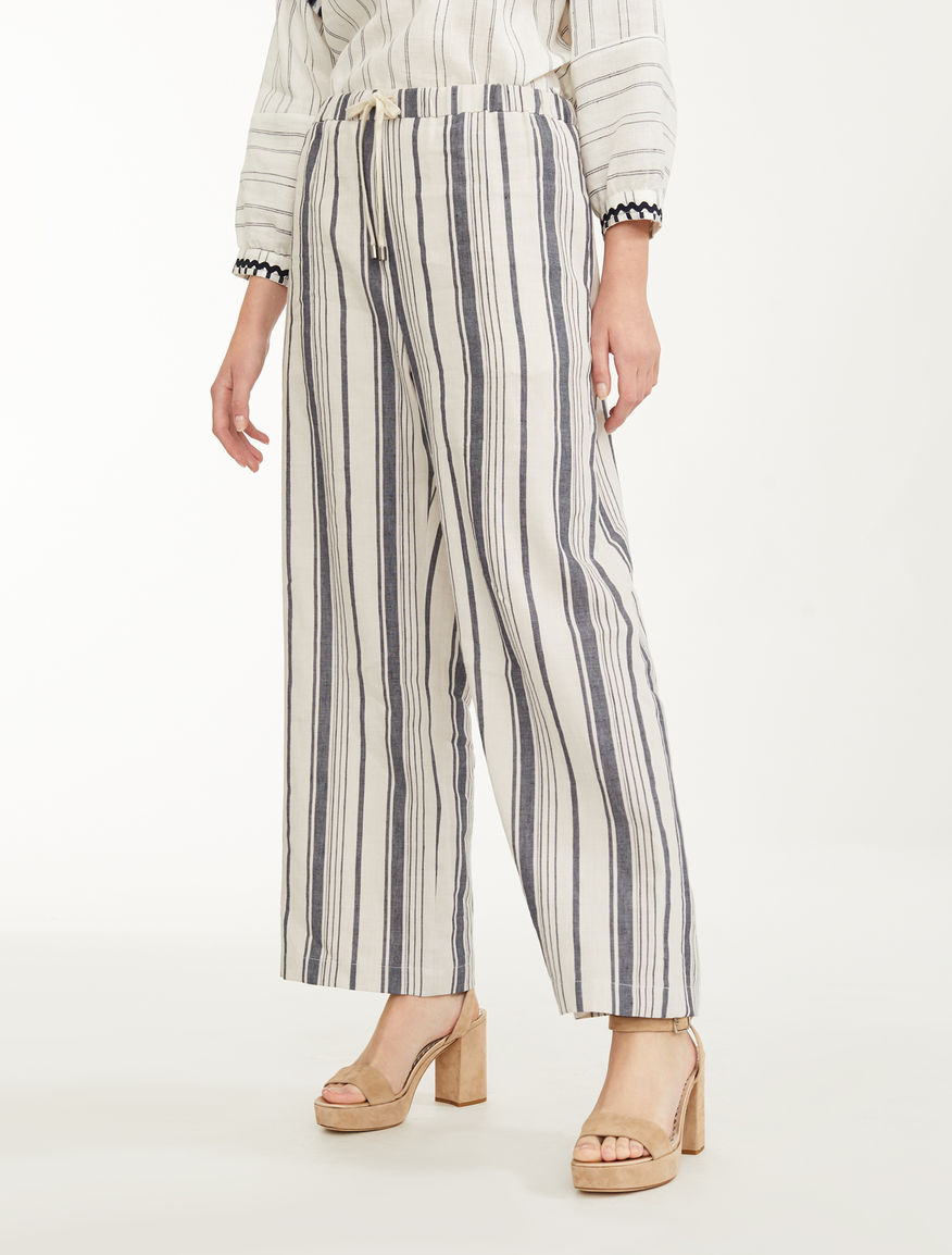 Trousers in cotton and linen satin Weekend Maxmara
