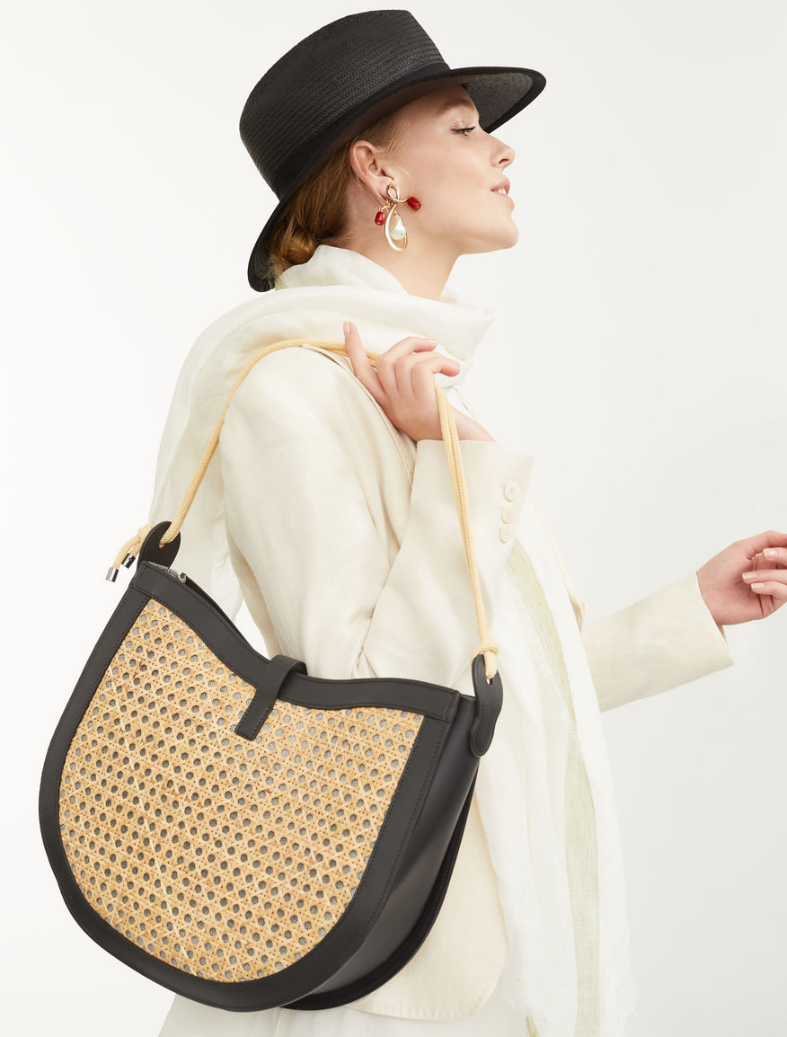 Straw and leather hobo bag Weekend Maxmara