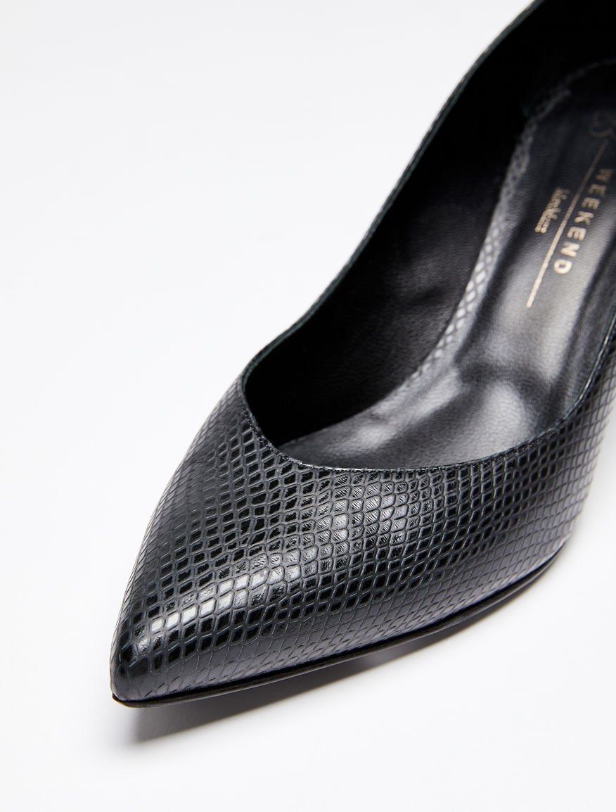 Python-print leather heels Weekend Maxmara