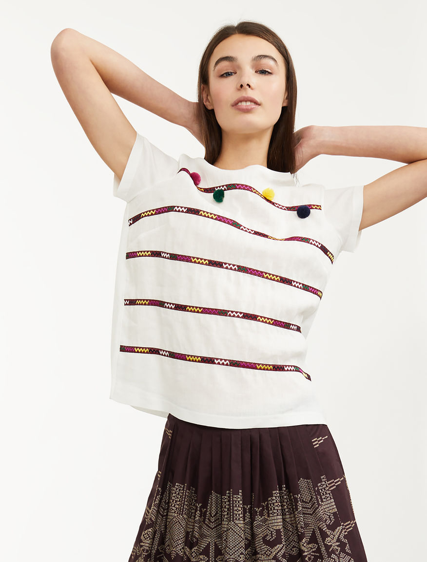 T-shirt in lino ricamato Weekend Maxmara
