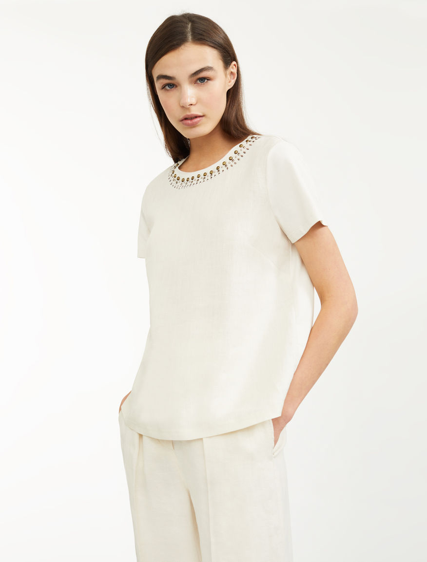Cotton and linen T-shirt Weekend Maxmara