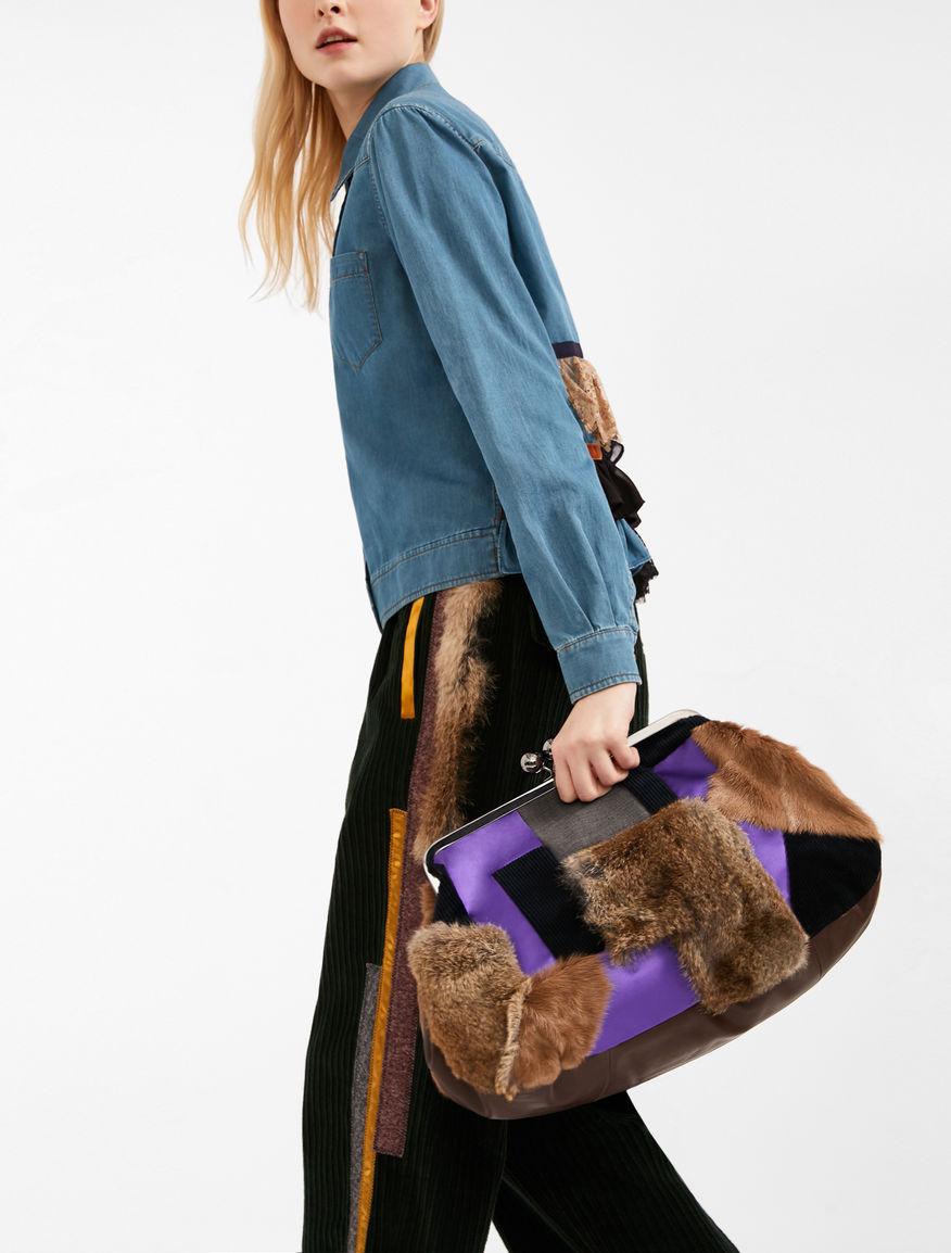 Maxi leather and fur Pasticcino Bag Weekend Maxmara