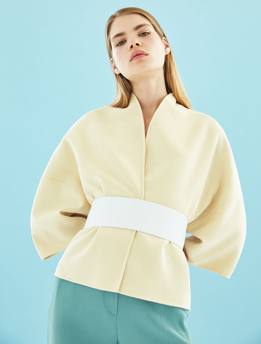 Giacca reversibile in lana e angora