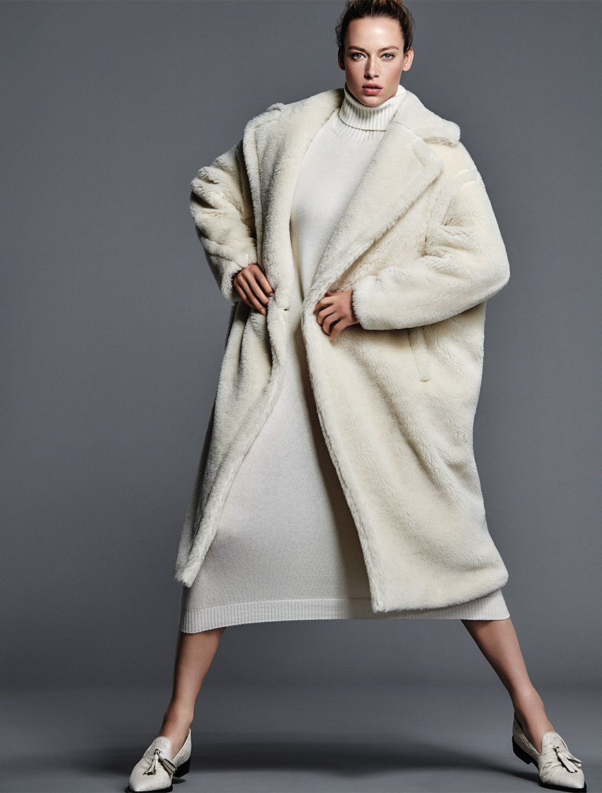 Wool and alpaca fur coat