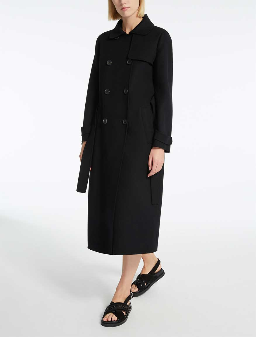 Wool and angora trench coat