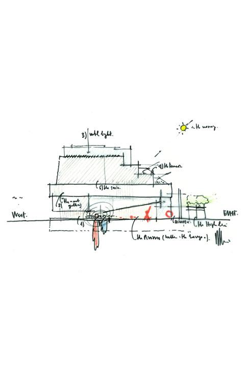 レンゾ・ピアノによるスケッチ<br> レンゾ・ピアノ ビルディングワークショップの許可により転載