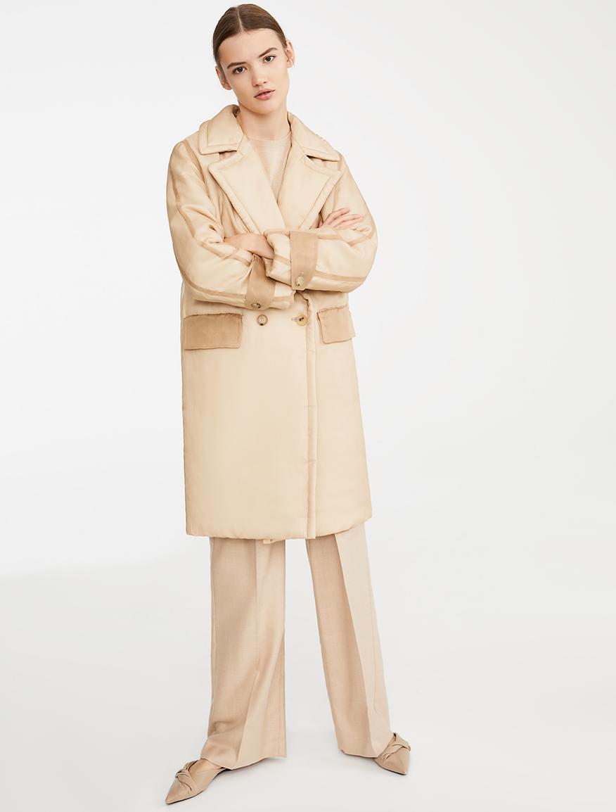 Abrigo Anima Coat de seda y camello