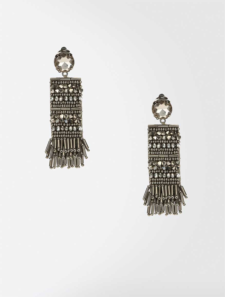 Earrings embroidered with fringe